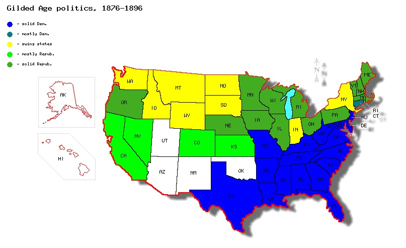 Gilded Age Presidential Elections Gilded - Map of population density us election
